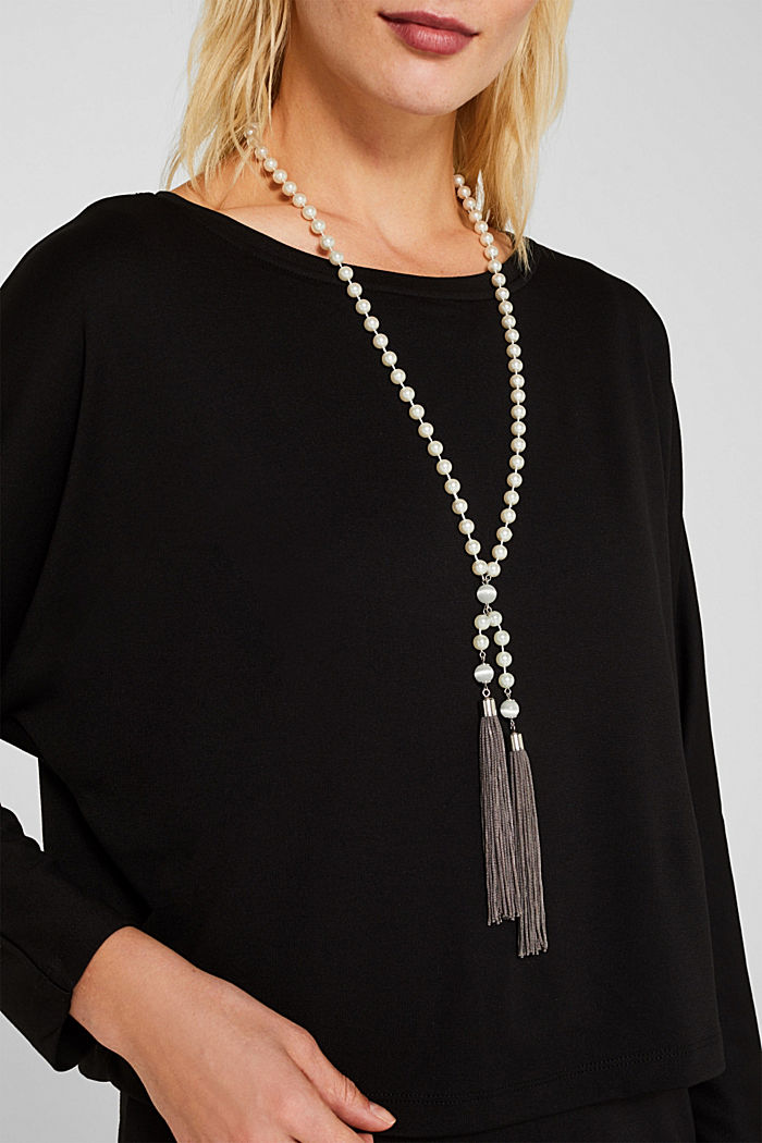 Faux pearl necklace with tassels, ONE COLOUR, detail image number 2