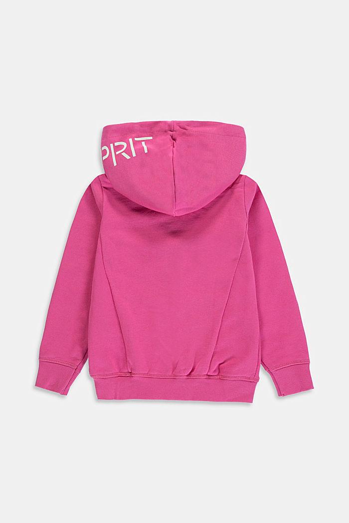 Logo-Sweat-Cardigan aus 100% Baumwolle, PINK, detail image number 1