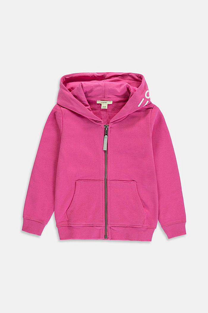 Logo sweatshirt cardigan made of 100% cotton, PINK, overview