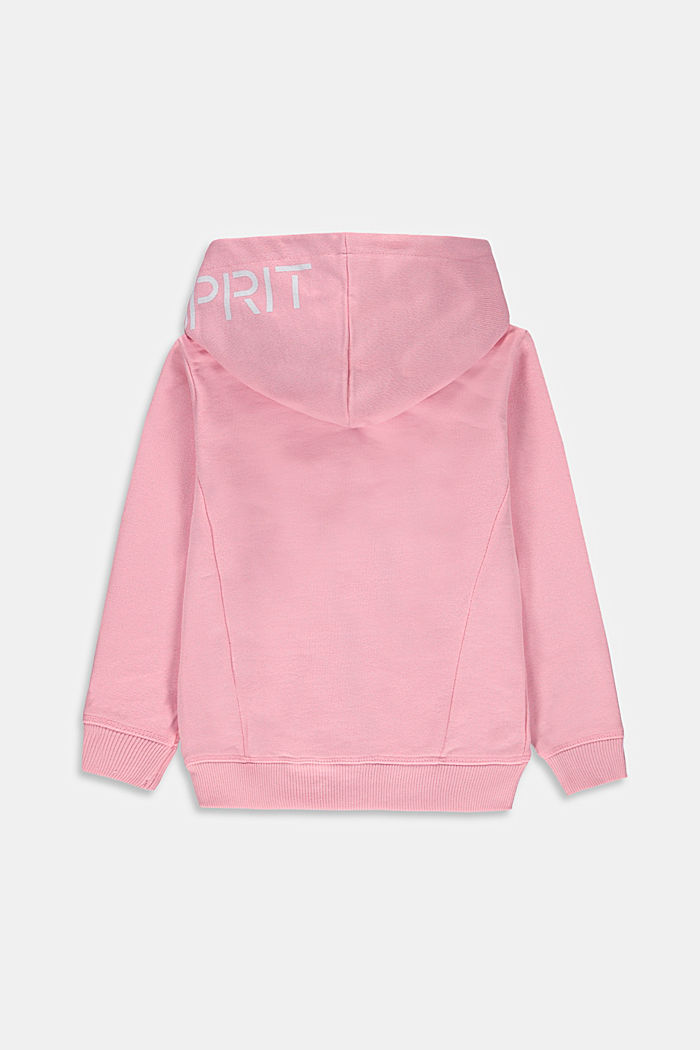 Zip-up hoodie with a logo print, 100% cotton, LIGHT PINK, detail image number 1