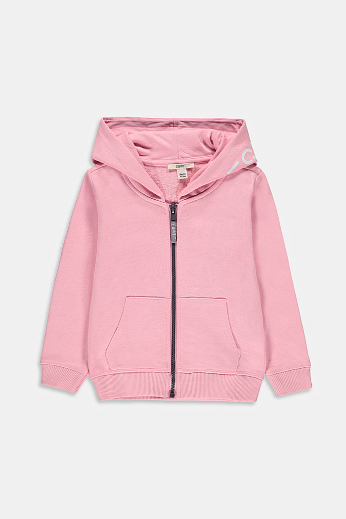 Zip-up hoodie with a logo print, 100% cotton, LIGHT PINK, detail image number 0
