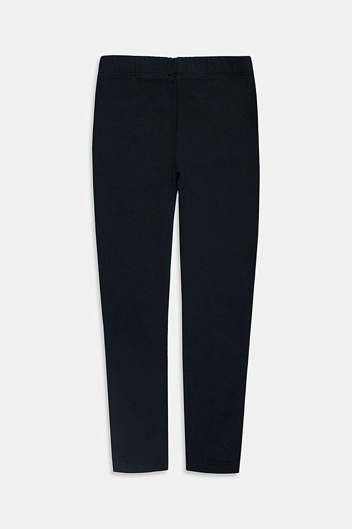 Basic stretch cotton leggings, BLACK, detail image number 1