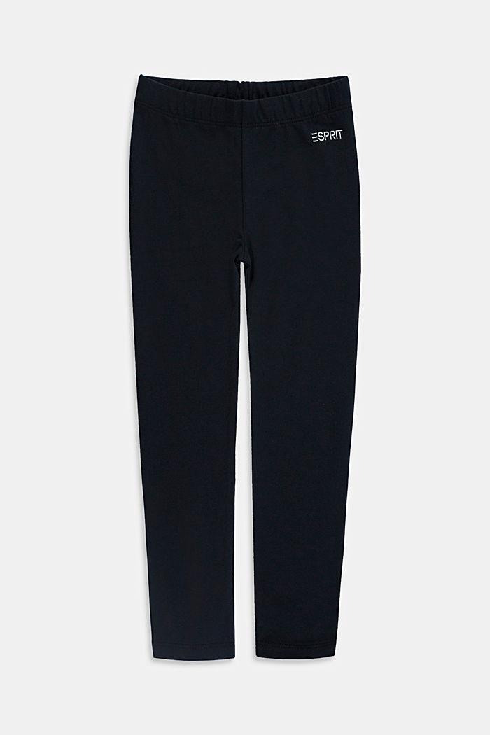 Basic stretch cotton leggings, BLACK, detail image number 0