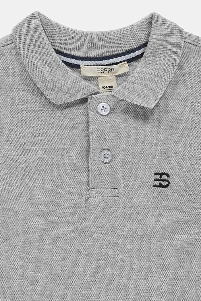 Long sleeved piqué polo shirt, 100% cotton, MEDIUM GREY, detail image number 2