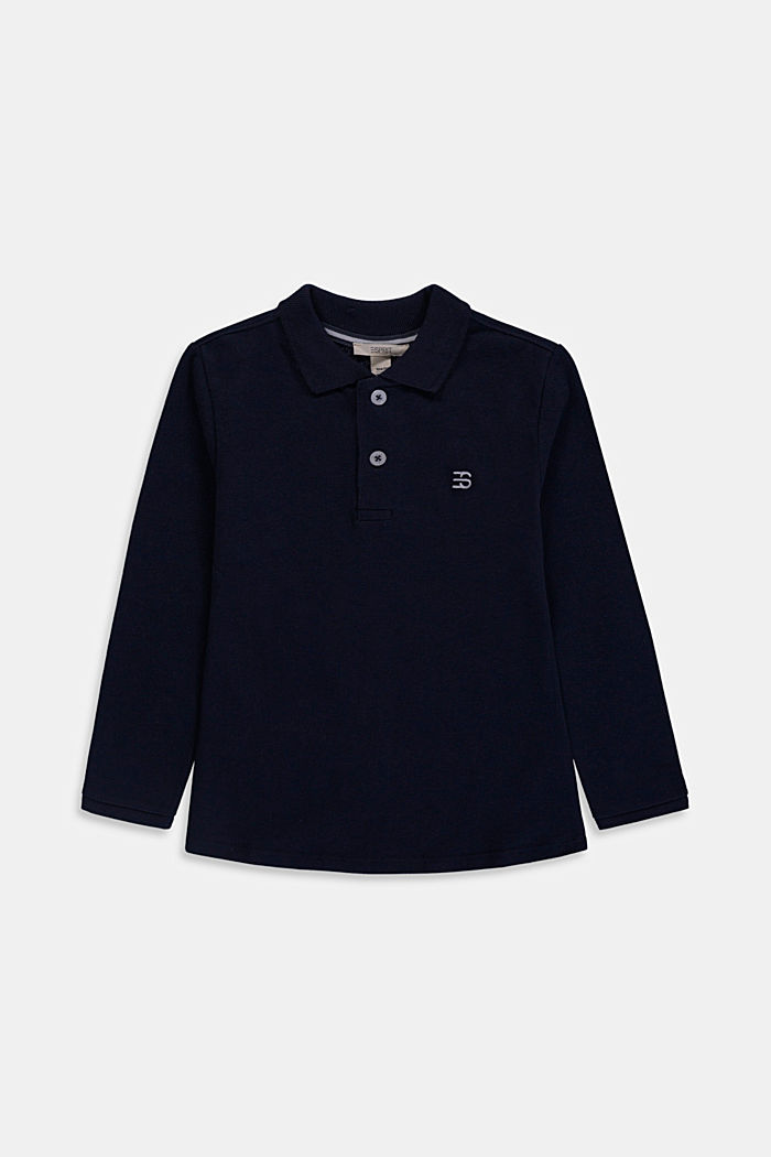 Long sleeved piqué polo shirt, 100% cotton, NAVY, detail image number 0