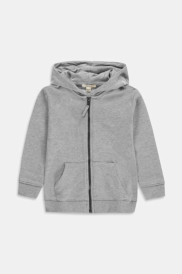 Zip-up hoodie with a logo print, 100% cotton, MEDIUM GREY, detail image number 0