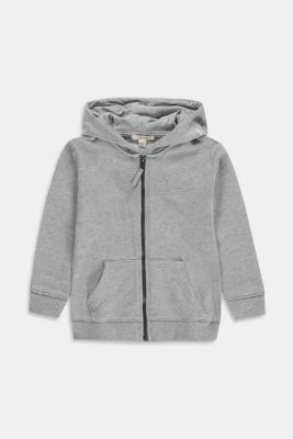 Zip-up hoodie with a logo print, 100% cotton, MEDIUM GREY, detail