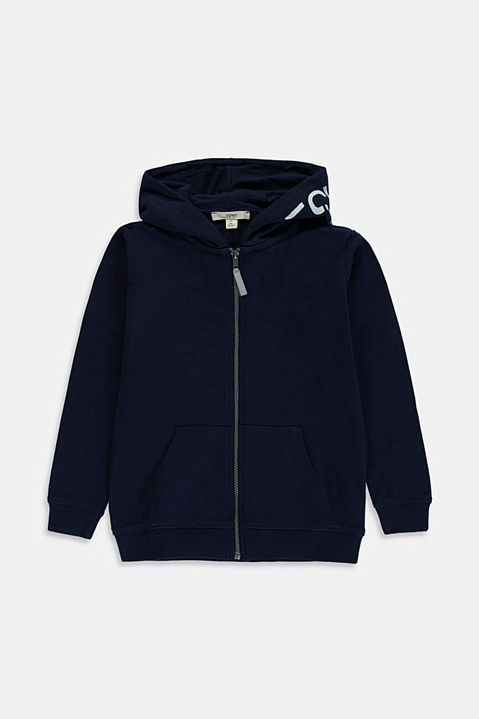 Zip-up hoodie with a logo print, 100% cotton, NAVY, detail image number 0