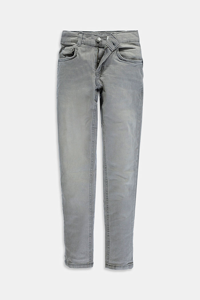 Stretch-Jeans mit Verstellbund, GREY MEDIUM WASHED, overview
