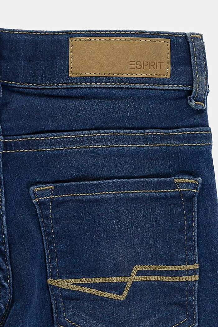 Washed stretch jeans with an adjustable waistband, BLUE DARK WASHED, detail image number 2