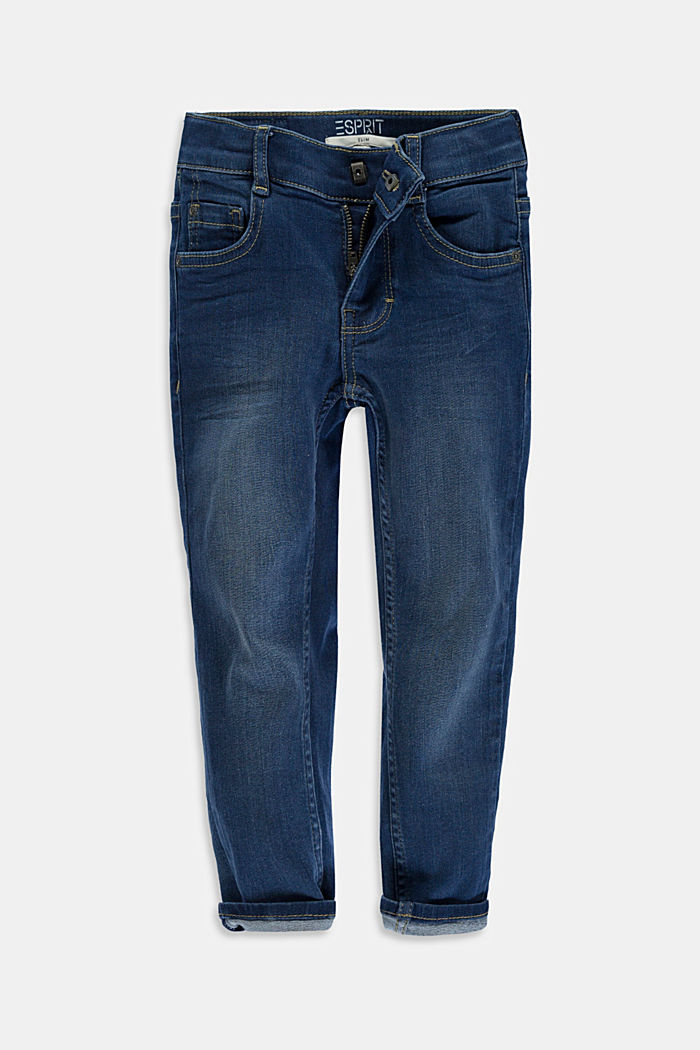 Washed Stretch-Jeans mit Verstellbund, BLUE DARK WASHED, overview
