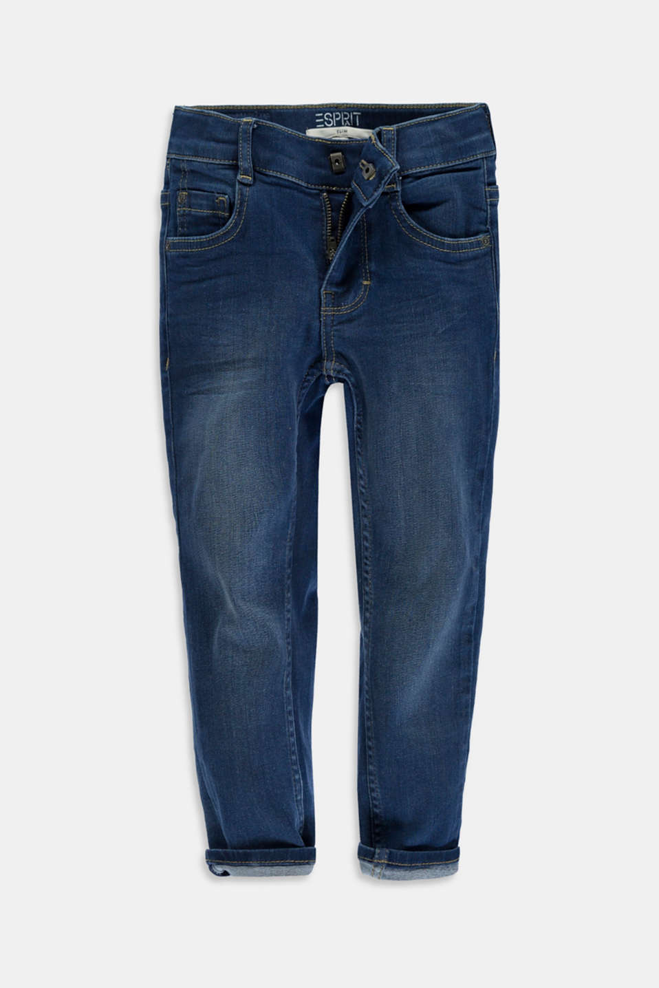 Esprit - Washed Stretch-Jeans mit Verstellbund