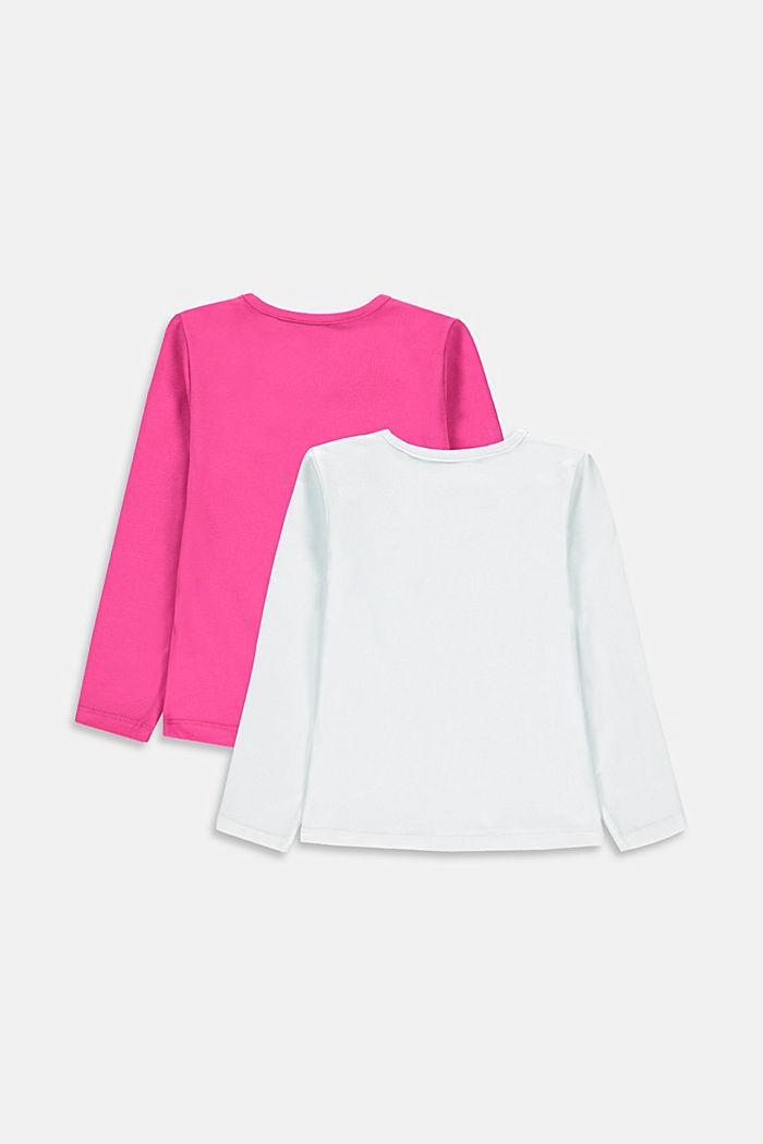 Bluzka z długim rękawem w dwupaku z elastycznej bawełny, WHITE, detail image number 1