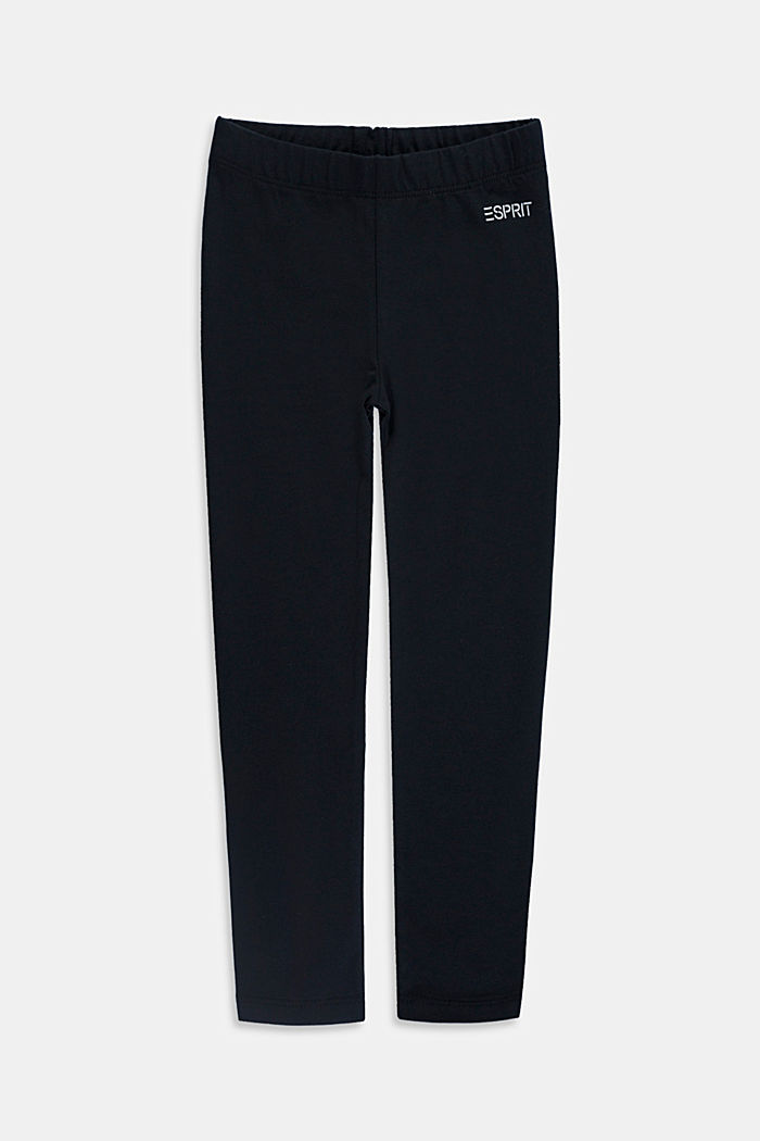 Stretch cotton leggings, BLACK, overview