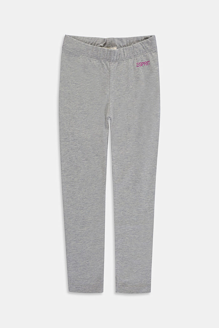 Leggings in cotone stretch, MEDIUM GREY, overview