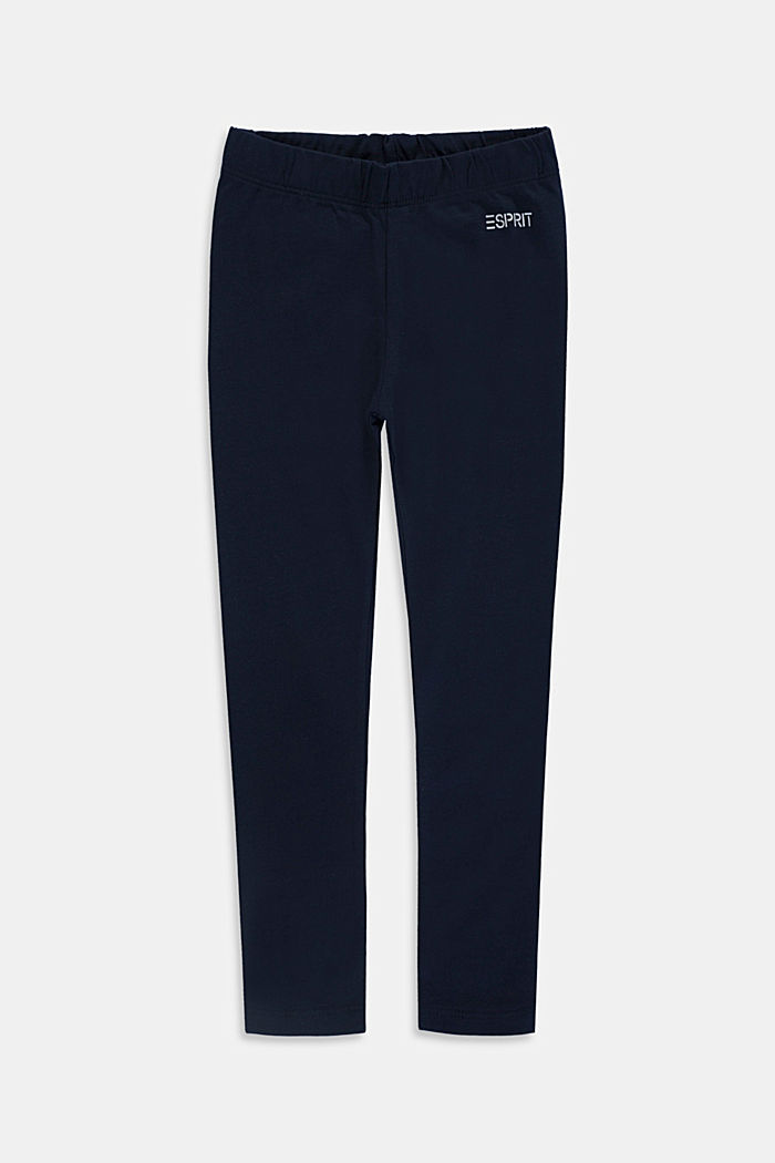 Stretch cotton leggings, NAVY, detail image number 0