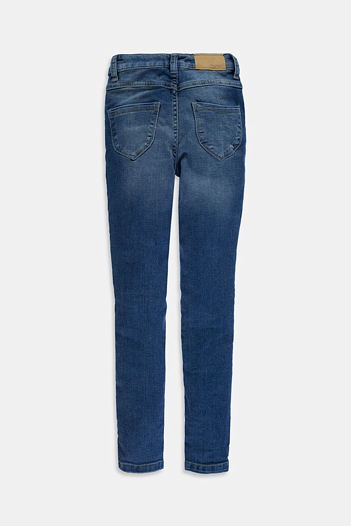 Stretch jeans available in different widths with an adjustable waistband, BLUE MEDIUM WASHED, detail image number 1