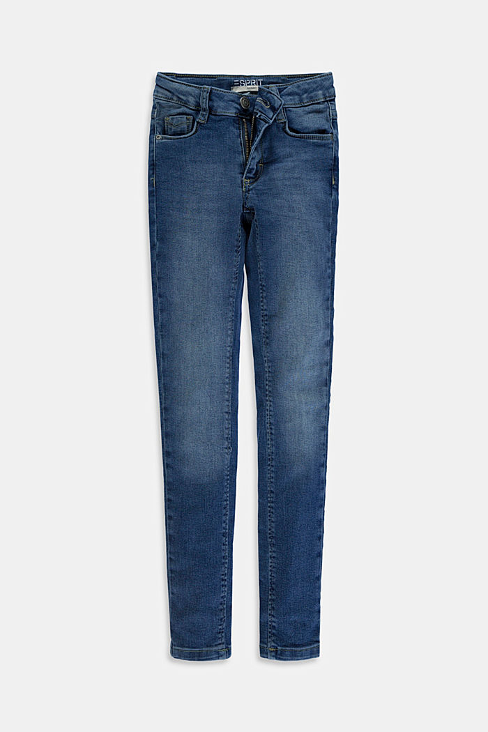 Stretch jeans available in different widths with an adjustable waistband, BLUE MEDIUM WASHED, detail image number 0