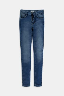 Stretch jeans available in different widths with an adjustable waistband, BLUE MEDIUM WASHED, detail