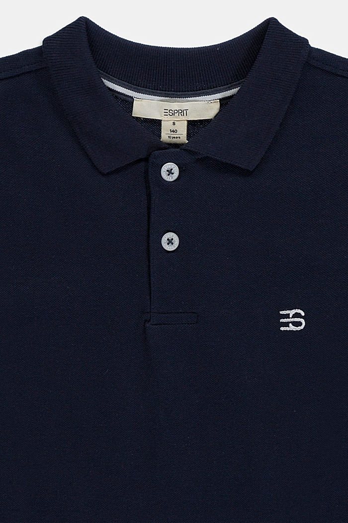 Basic piqué polo shirt made of 100% cotton, NAVY, detail image number 2