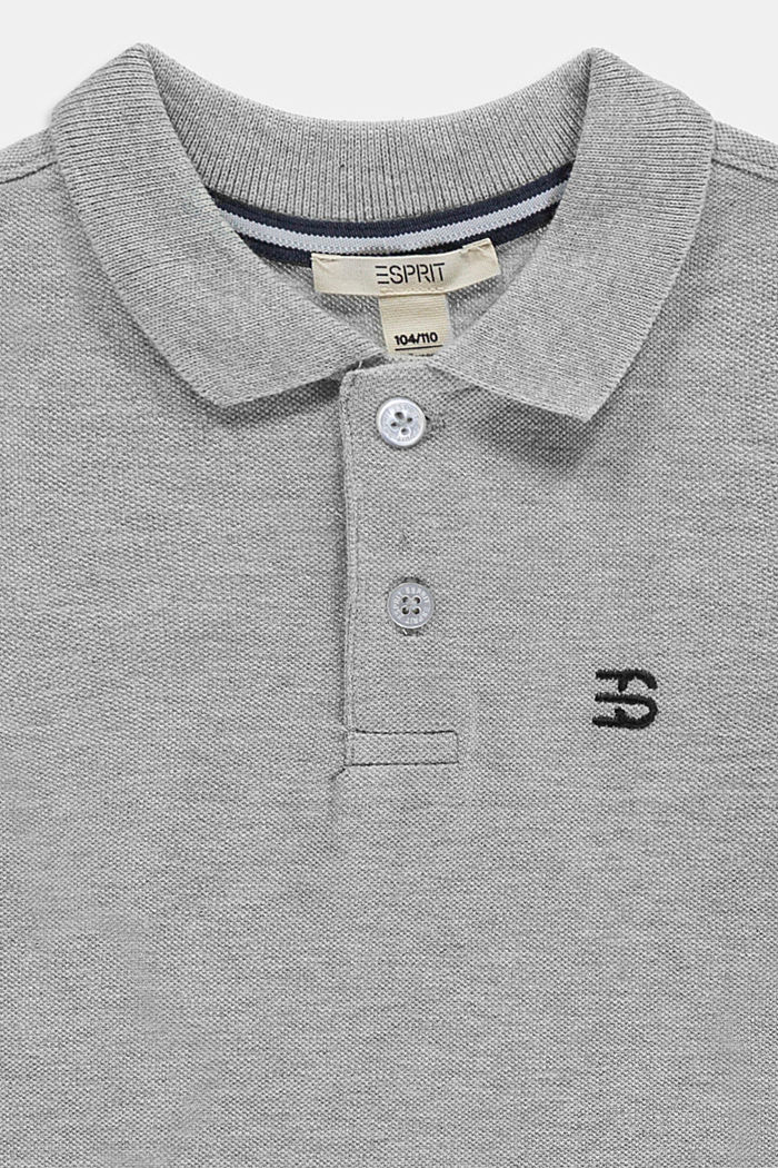 Long sleeved piqué polo shirt, 100% cotton, MEDIUM GREY, detail image number 2