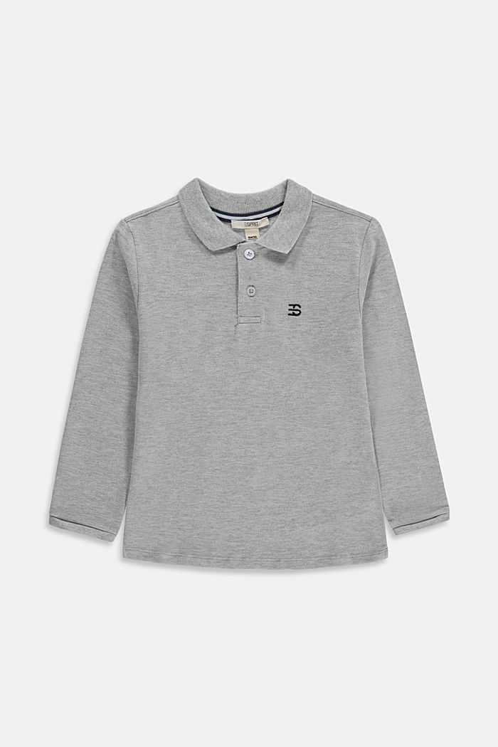 Long sleeved piqué polo shirt, 100% cotton, MEDIUM GREY, detail image number 0