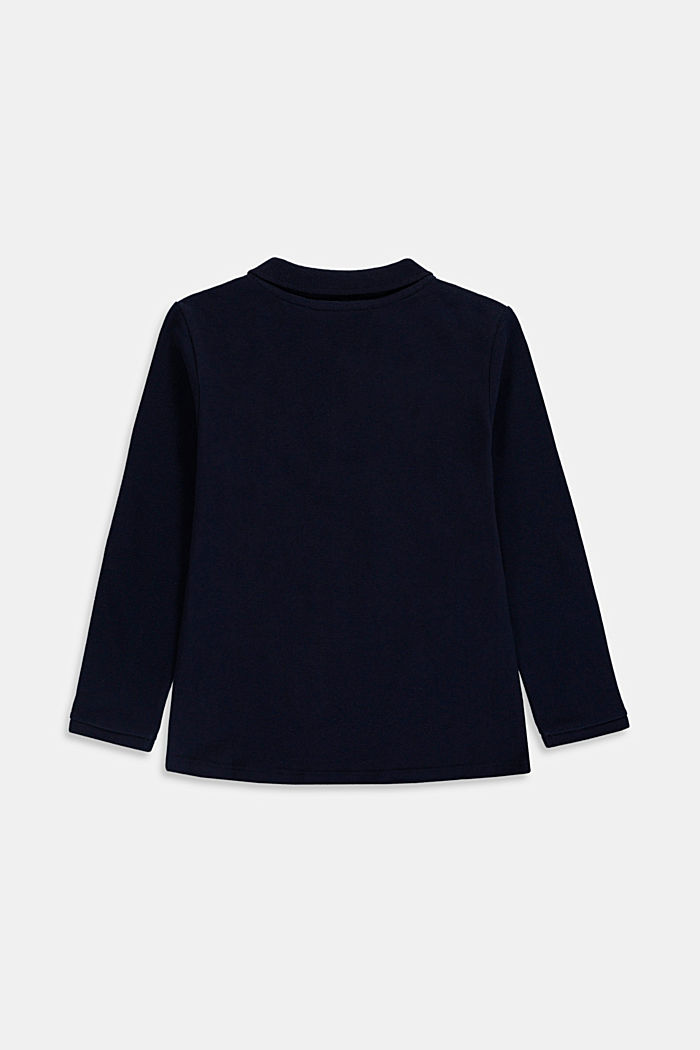 Long sleeved piqué polo shirt, 100% cotton, NAVY, detail image number 1