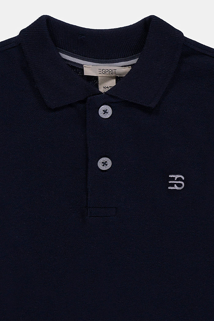 Long sleeved piqué polo shirt, 100% cotton, NAVY, detail image number 2