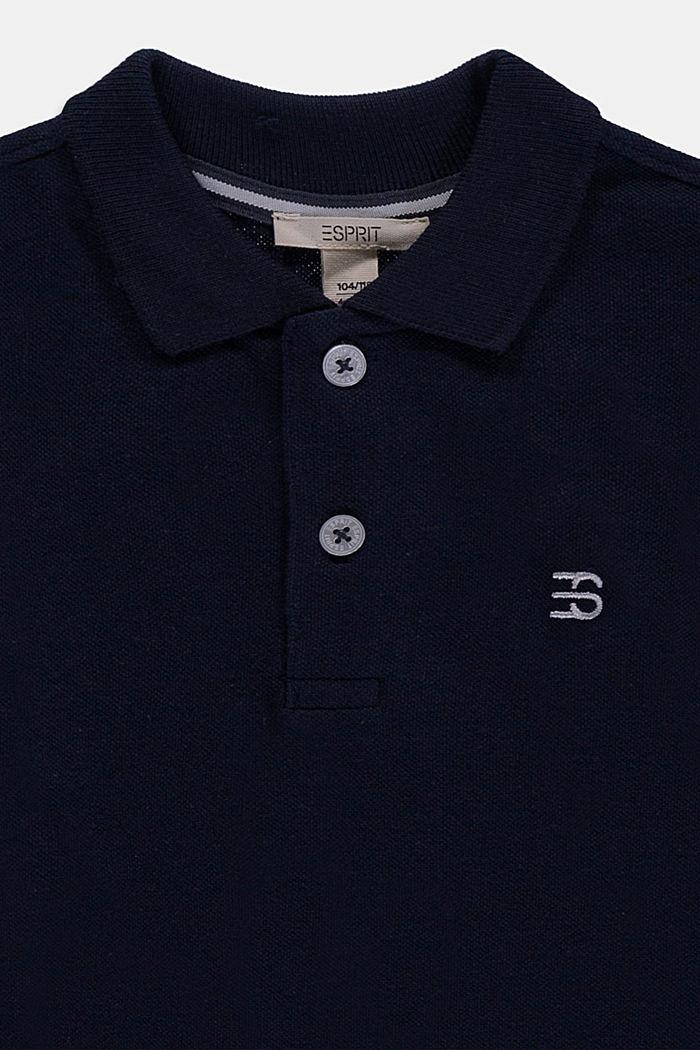 Polo piqué a maniche lunghe, 100% cotone, NAVY, detail image number 2