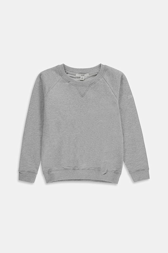 Basic sweatshirt van 100% katoen, MEDIUM GREY, overview