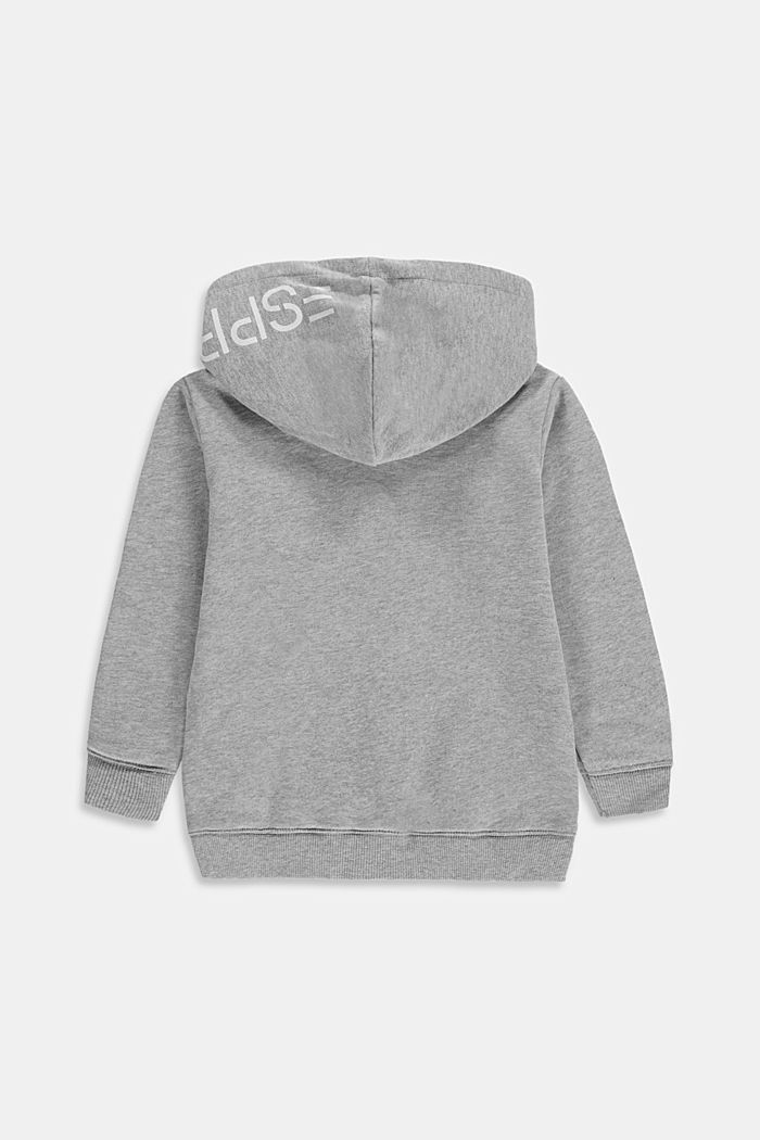Zip-up hoodie with a logo print, 100% cotton, MEDIUM GREY, detail image number 1