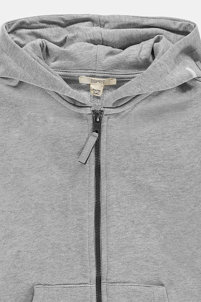 Zip-up hoodie with a logo print, 100% cotton, MEDIUM GREY, detail image number 2