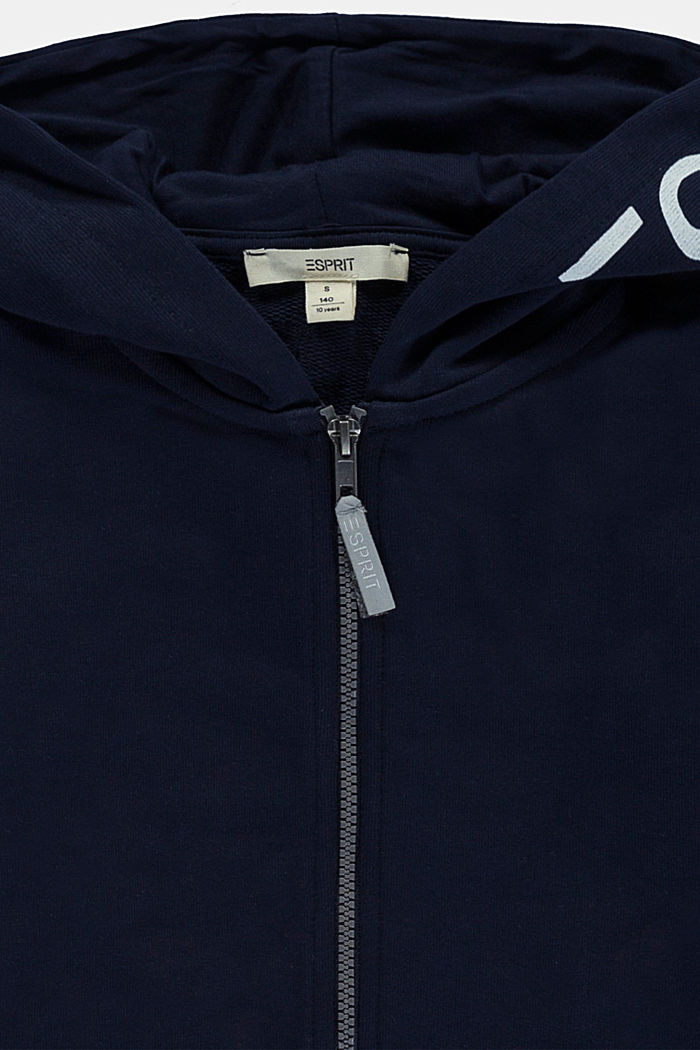 Zip-up hoodie with a logo print, 100% cotton, NAVY, detail image number 2