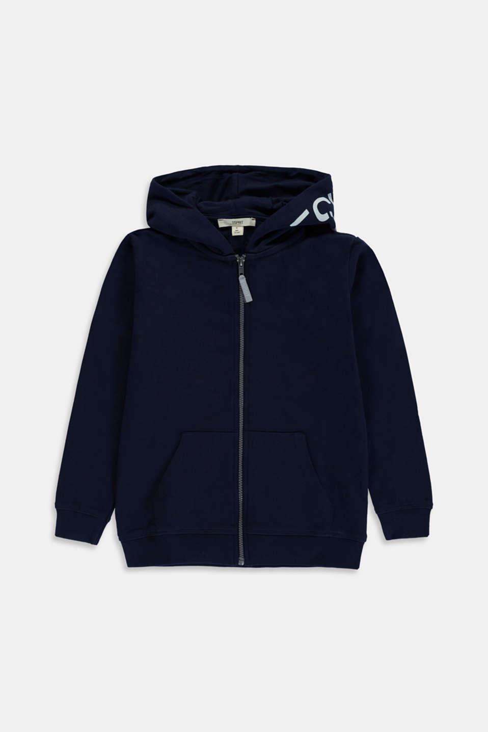 Esprit - Zip-up hoodie with a logo print, 100% cotton