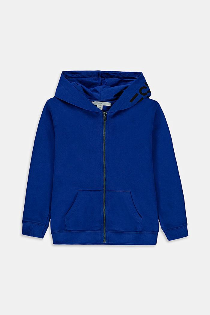 Sudadera de capucha y cremallera con logotipo estampado, 100 % algodón