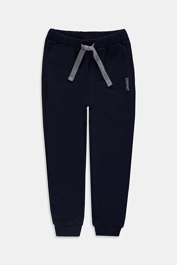 Tracksuit bottoms in 100% cotton, NAVY, detail image number 0