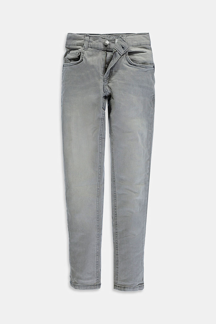 Stretch-Jeans mit Weitenservice und Verstellbund, GREY MEDIUM WASHED, detail image number 0
