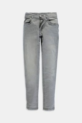 Stretch jeans available in different widths with an adjustable waistband, GREY MEDIUM WASHED, detail