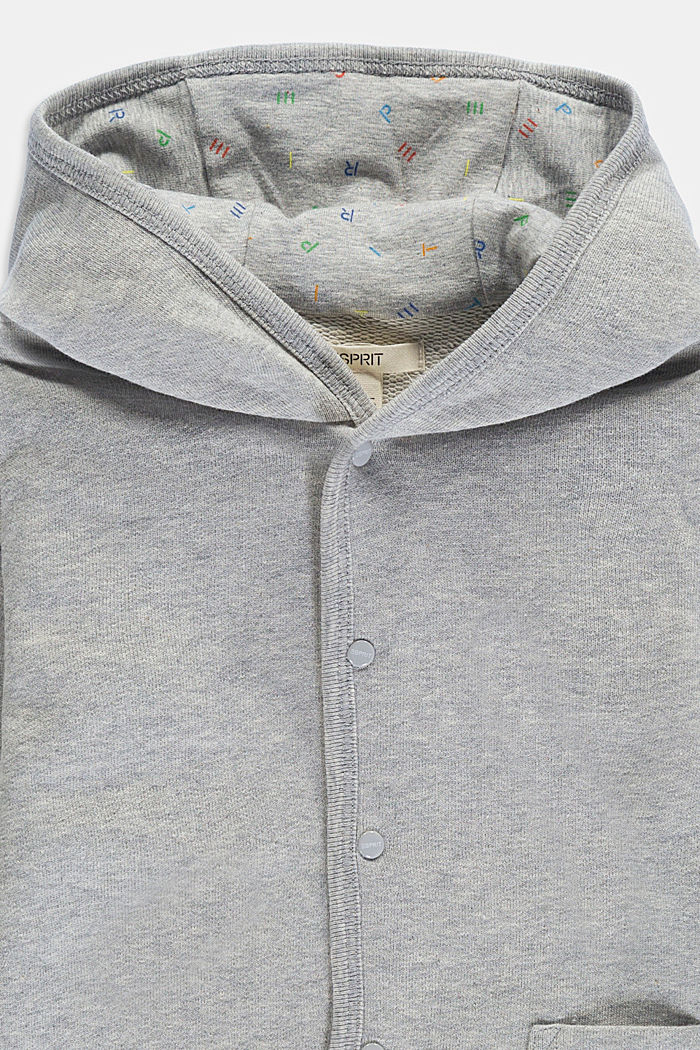 Sweatshirt jacket made of 100% organic cotton, LIGHT GREY, detail image number 2