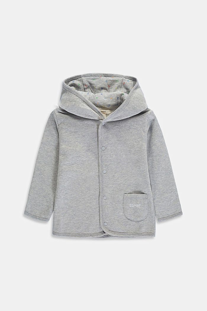 Sweatshirt jacket made of 100% organic cotton, LIGHT GREY, detail image number 0
