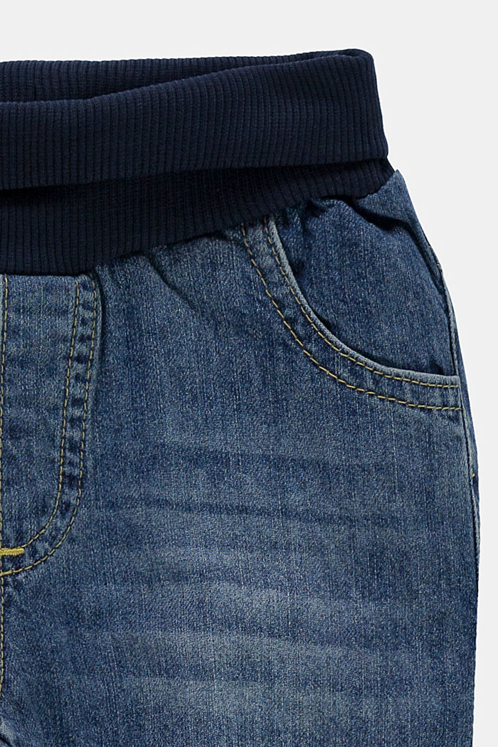 Jeans with a ribbed waistband, 100% organic cotton, BLUE MEDIUM WASHED, detail image number 2