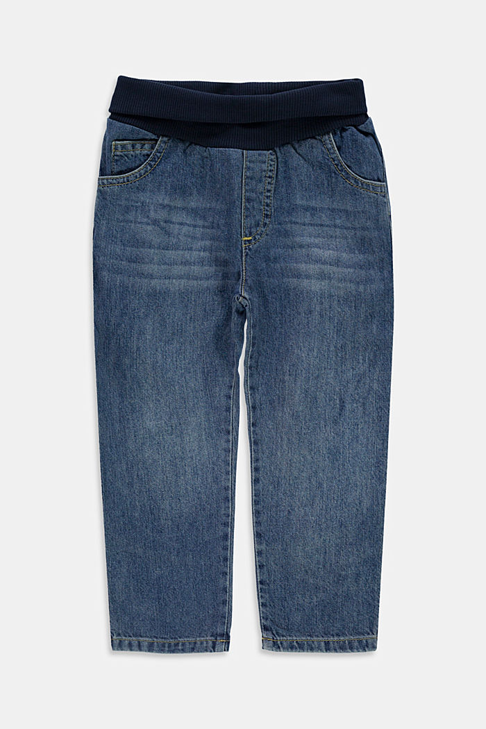 Jeans with a ribbed waistband, 100% organic cotton