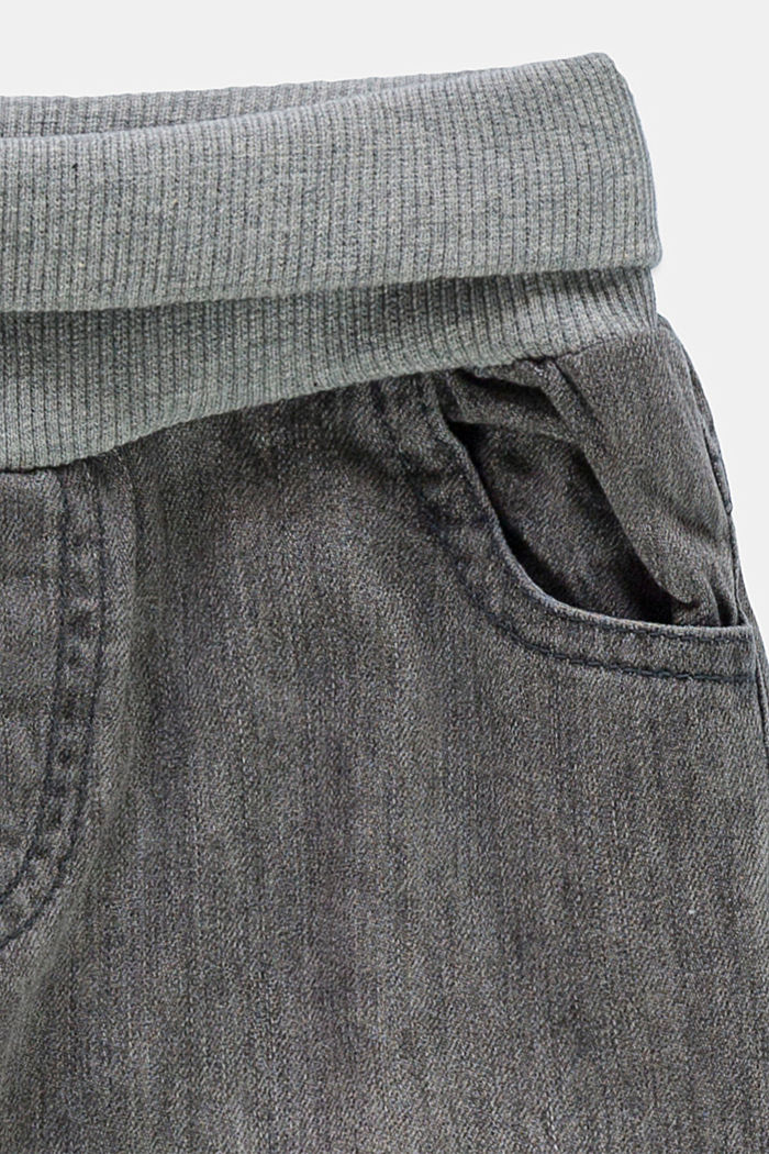 Jeans with a ribbed waistband, 100% organic cotton, GREY MEDIUM WASHED, detail image number 2