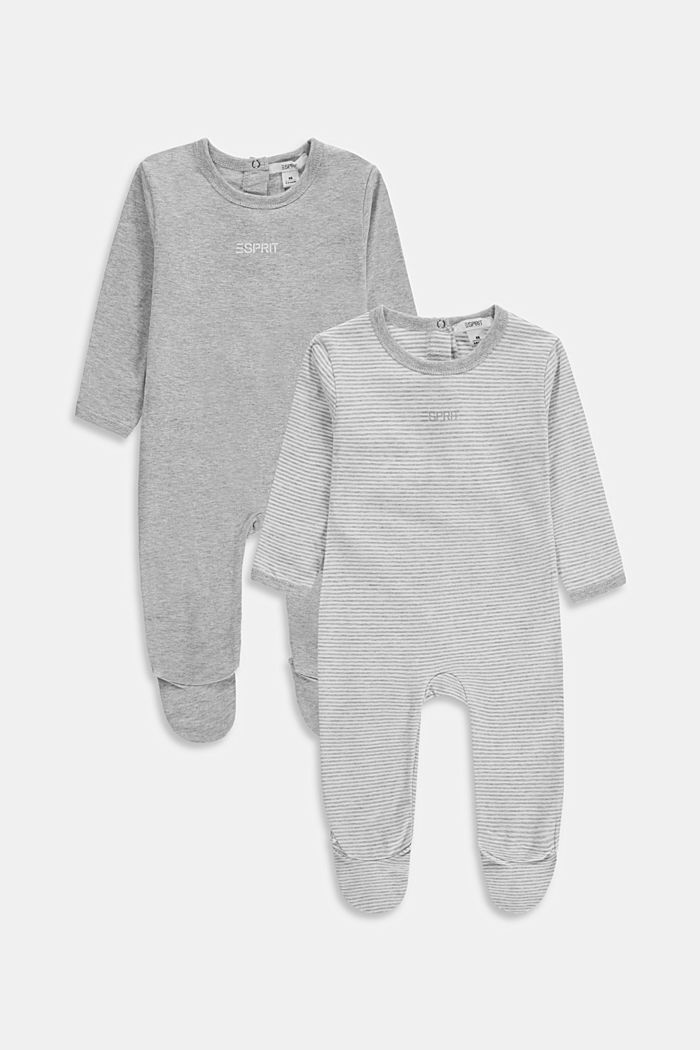 2-pack of rompers with organic cotton, LIGHT GREY, detail image number 0