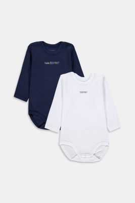 Double pack of romper suits in 100% organic cotton, DARK BLUE, detail