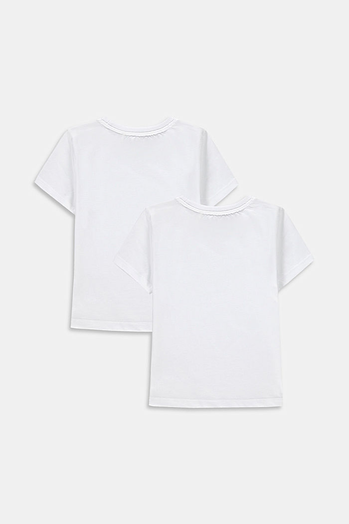 Jerseyowe T-shirty ze 100% bawełny, dwupak, WHITE, detail image number 1