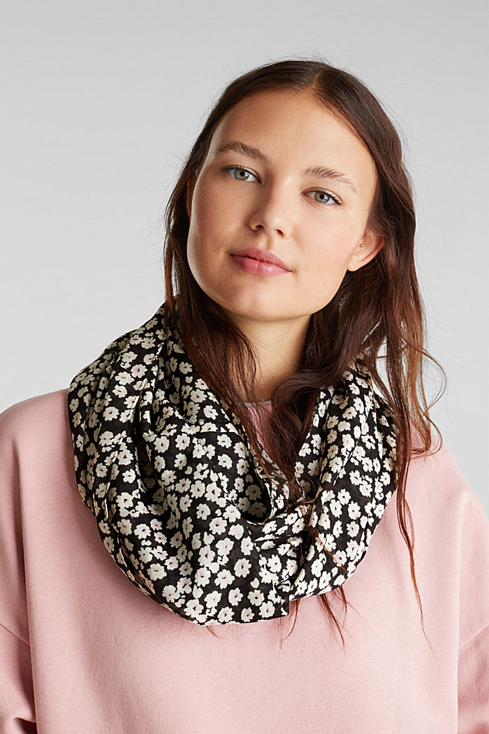 Recycled: Print snood, BLACK, detail image number 1
