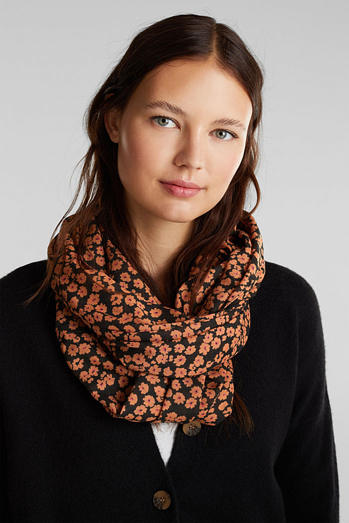 Recycled: Print snood, TOFFEE, detail image number 1