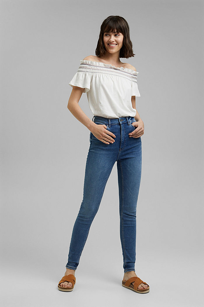 Jeans met superstretch, organic cotton, BLUE MEDIUM WASHED, detail image number 0