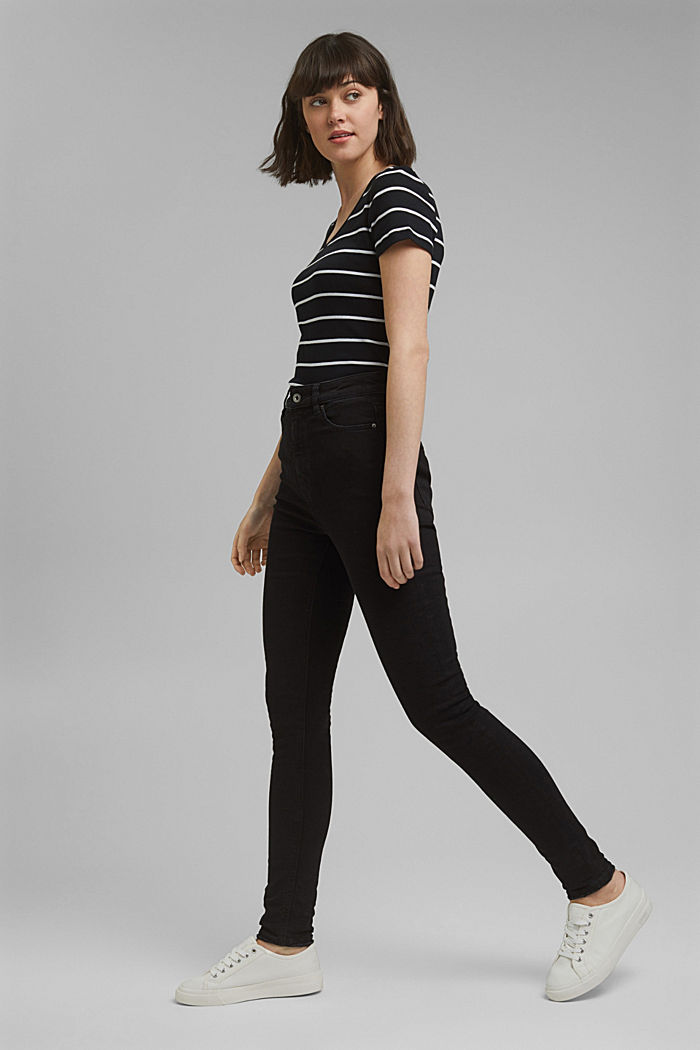 Super stretch jeans with organic cotton, BLACK DARK WASHED, detail image number 1